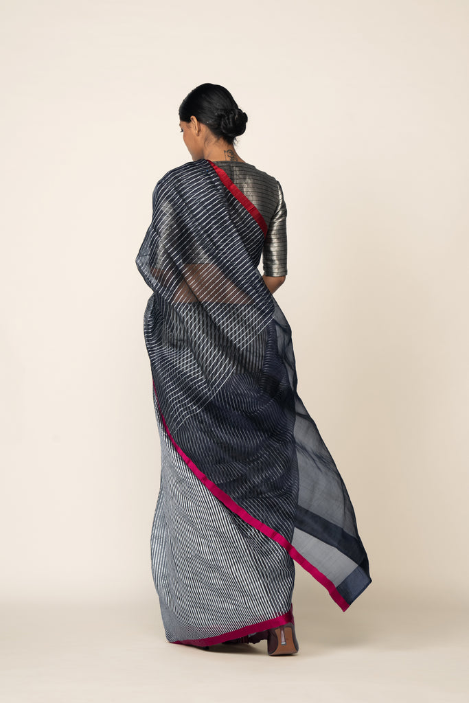 Reversible Silk Sari - Indigo + Grey