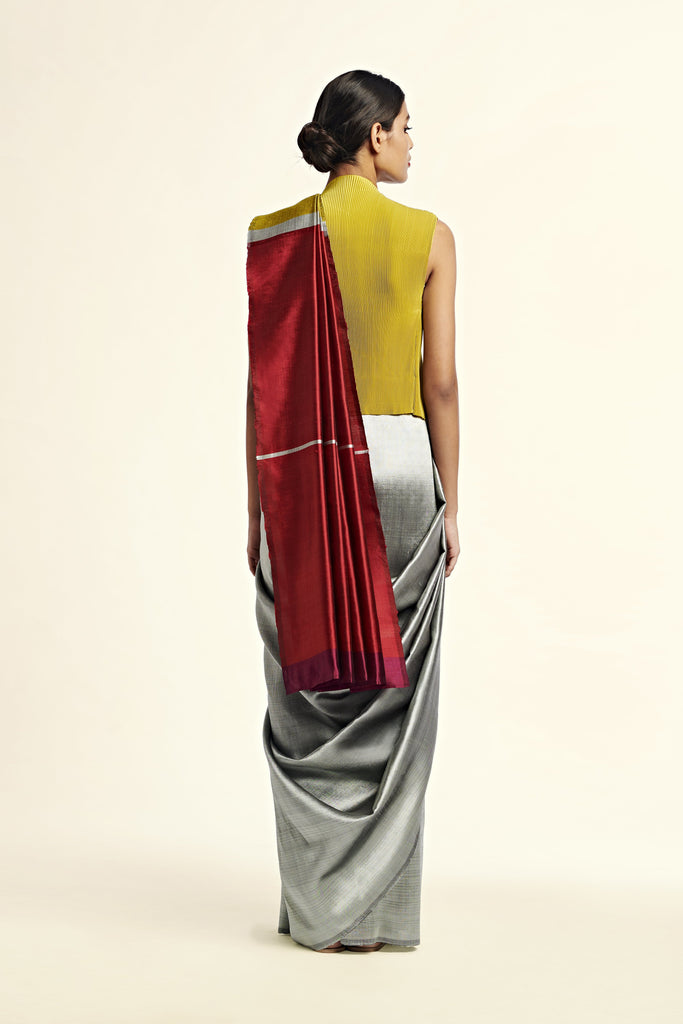 Reversible Silk Sari - Grey + Crimson