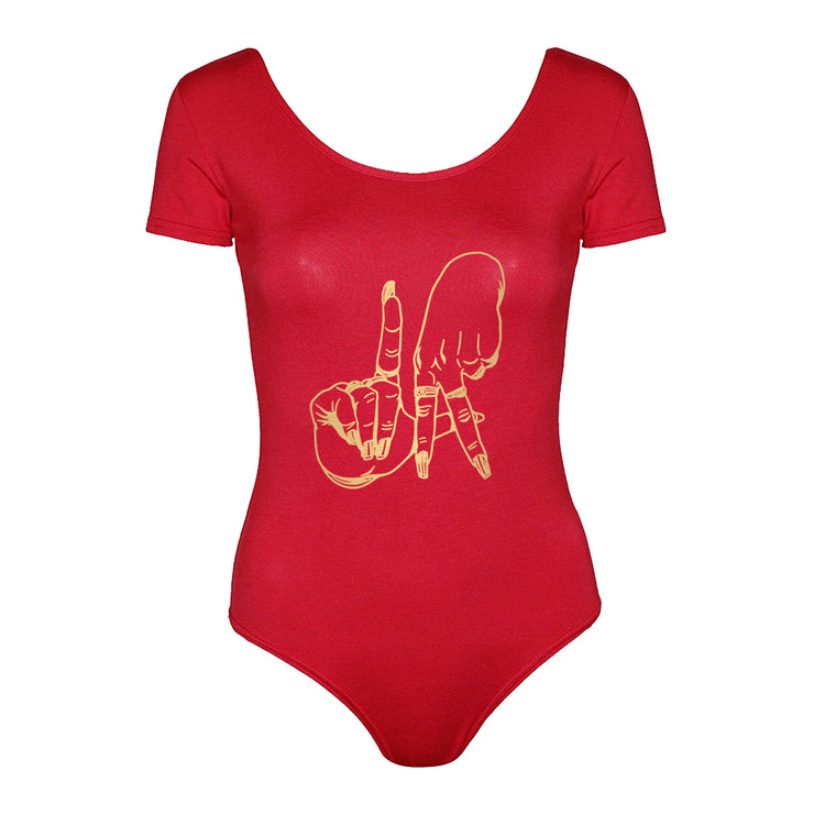 LA FINGERS WOMENS CAP SLEEVE BODYSUIT RED