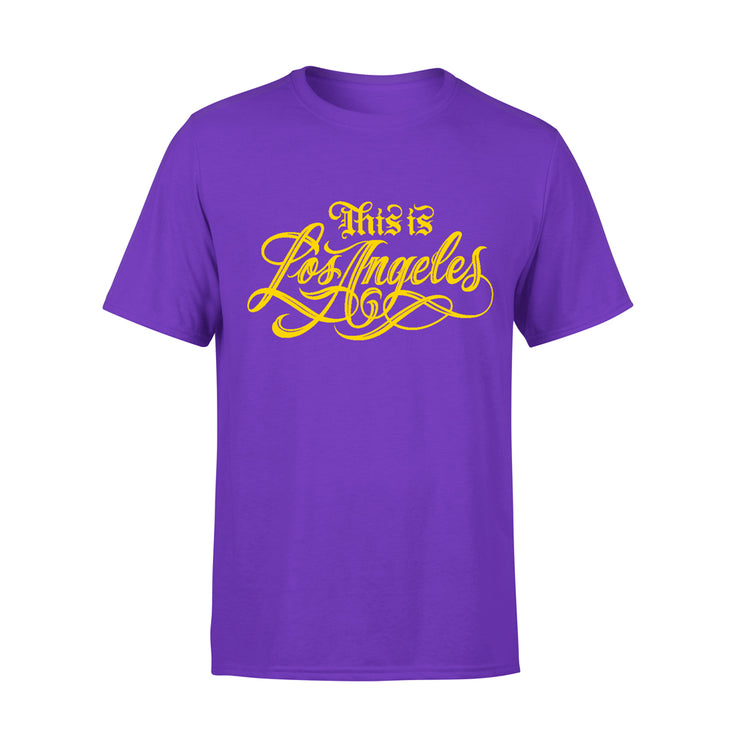 PURPLE AND GOLD THIS IS LOS ANGELES TSHIRT