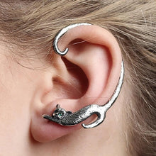 Load image into Gallery viewer, GOLD & SILVER PLATED TAIL CAT EARRING