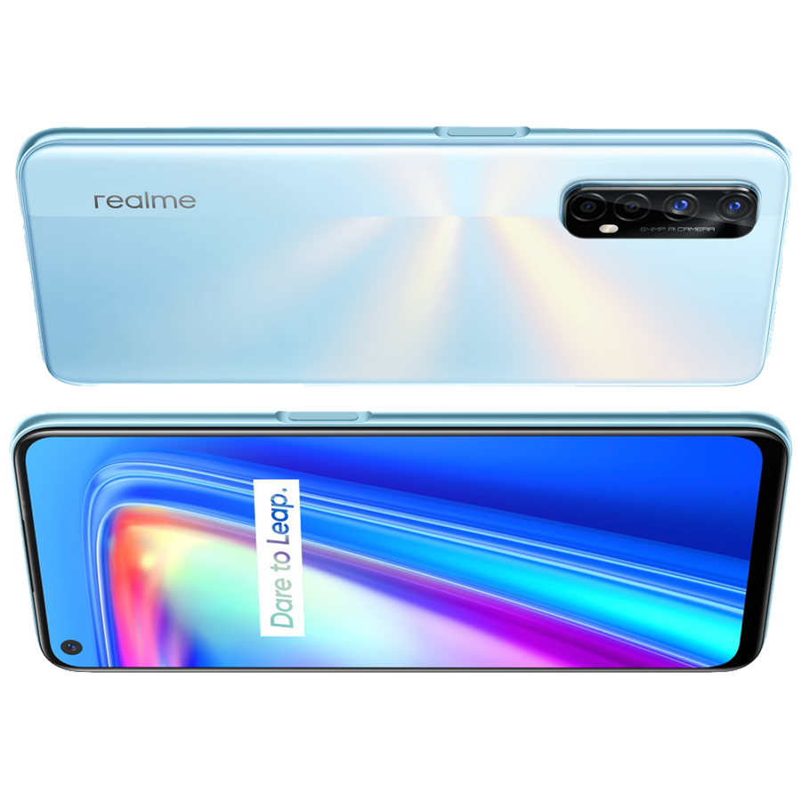 realme 7 smartphone, Unlocked, Android, NFC, QuadCam, Fast Dart Charge - 4GB + 64GB / White
