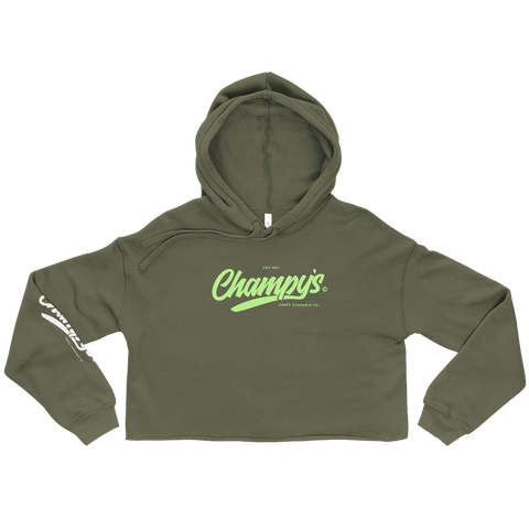 Champy's Official Logo Crop Hoodie (Mint)