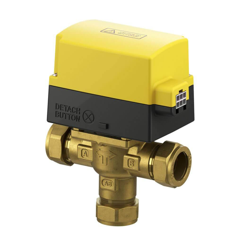 3 port compression motorised valves with detachable actuator and detachable cable. These motorised valves are the perfect solution for zoning your hot water or central heating circuits.