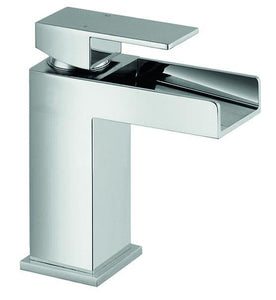 Warley | Modern chrome square waterfall mono basin mixer (waste required)
