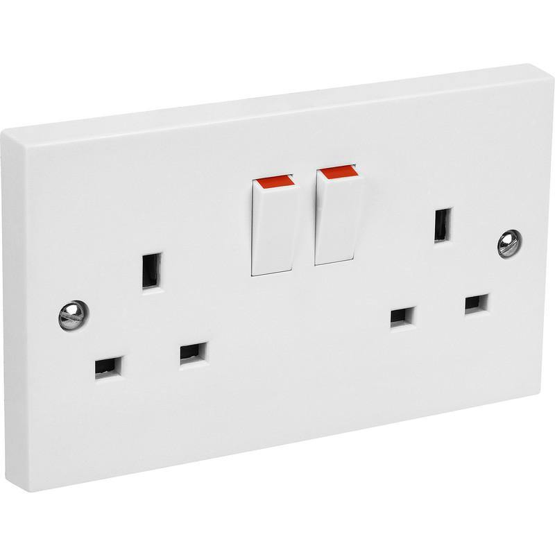 2 Gang 13 Amp Switched Socket