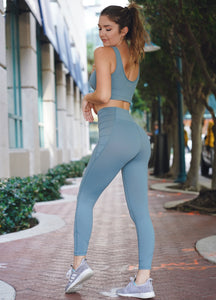 Hidden Pocket Leggings - Dusty Blue