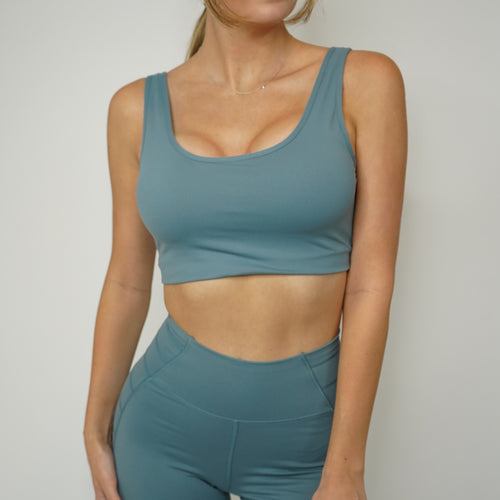 Serena Sports Bra - Dusty Blue
