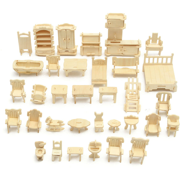 34Pcs DIY Dollhouse Furniture | Natural Wood | Miniature House Accessories | DIY Kit
