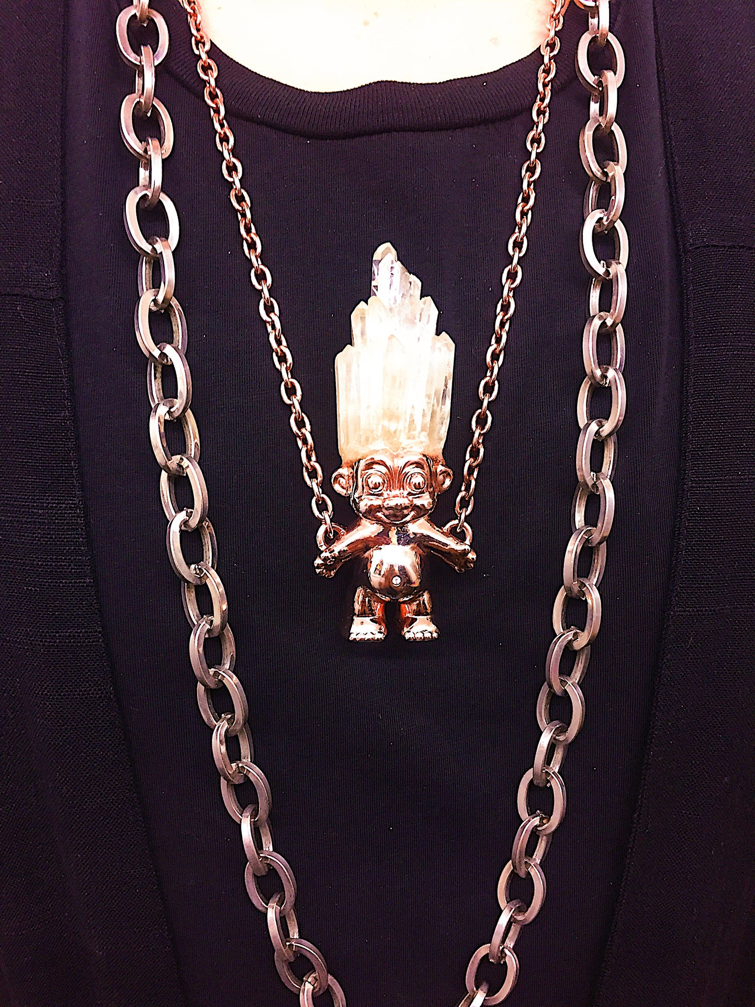 ROSE GOLD CRYSTAL TROLL NECKLACE