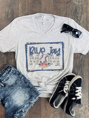 """Team"" Floral Baseball MOM Tee"