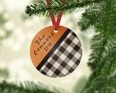 Leather Accent Plaid Ornament (CO1025)