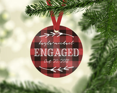 Engaged Plaid Ornament (CO1027)