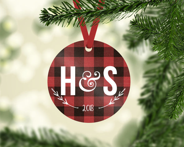 Initials Red Plaid Ornament (CO1028)