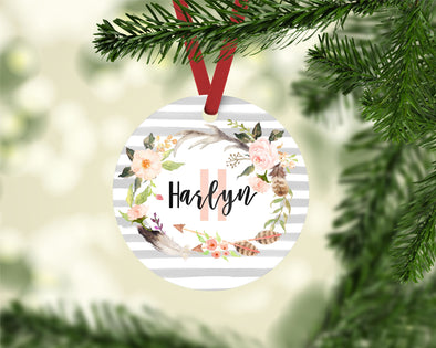 Rustic Floral Wreath Ornament (CO1040)