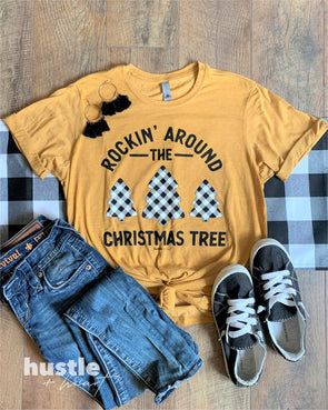 Rockin' Around the Christmas Tree Mustard Tee