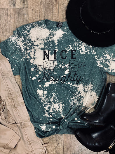 Nice until Proven Naughty Bleach Distressed Christmas Tee