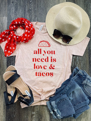 All You Need is Love & Tacos- Peach Tee