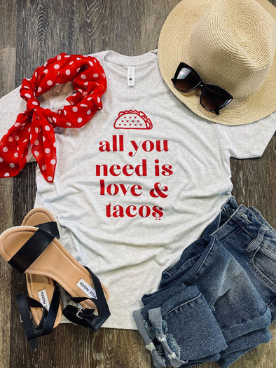 All You Need is Love & Tacos- White Fleck Tee