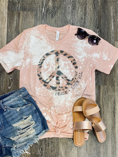 Peace + Love all Bleach Distressed Tee
