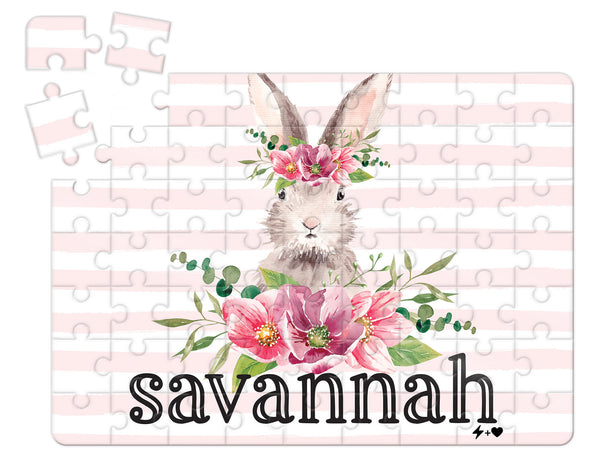 Floral Rustic Bunny Easter Puzzle WITH MATCHING TIN BOX