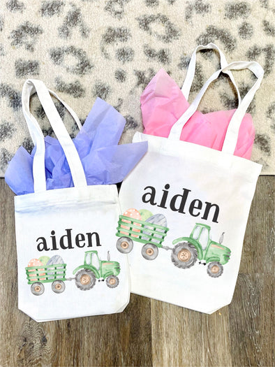 Tractor Bunny Easter Tote Bag