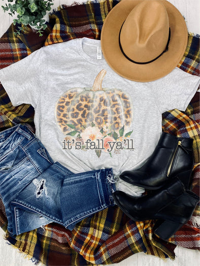 It's Fall Y'all Leopard Pumpkin Tee