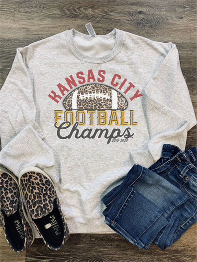 Kansas City Football Champs LEOPARD Sweatshirt