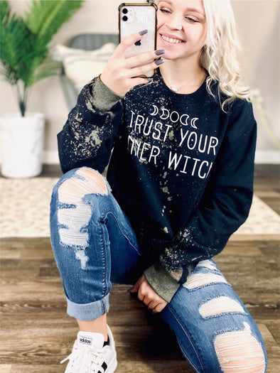 Trust your inner Witch Bleached Sweatshirt