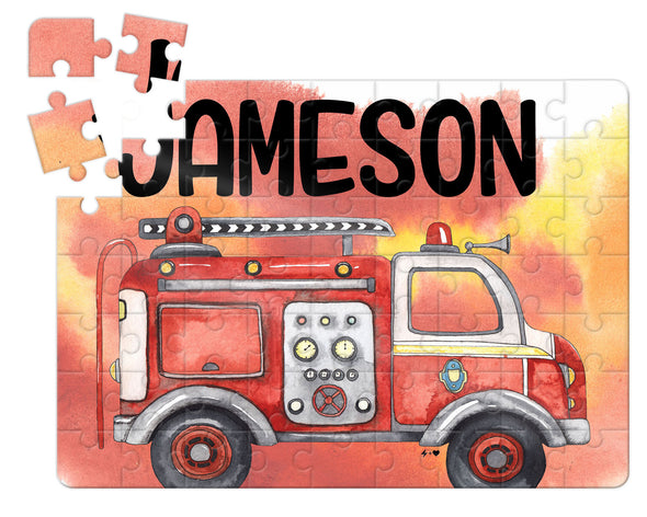 Watercolor Fire Truck Kids Custom Puzzle