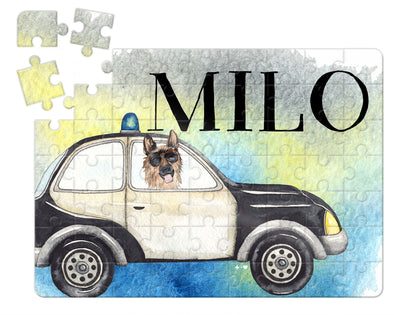 Watercolor Police Car Kids Custom Puzzle