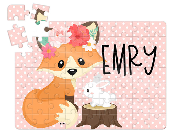 Floral Fox Kids Custom Puzzle