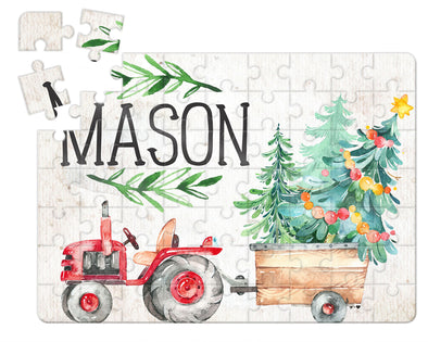 Red Christmas Tractor Puzzle WITH MATCHING TIN