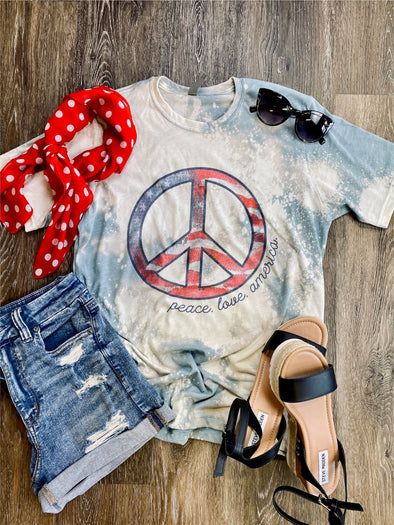 Peace Love America Bleach Distressed Tee