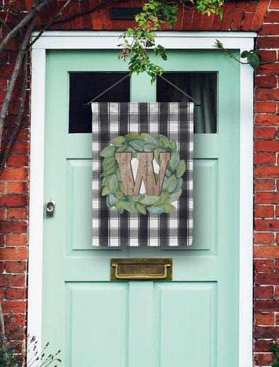 Farm House Plaid + Wooden Monogram Flag