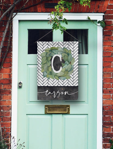 Subway Tile Monogram Door Flag