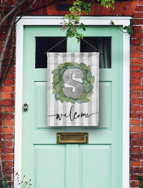 Farm House Grey Stripes Door Flag