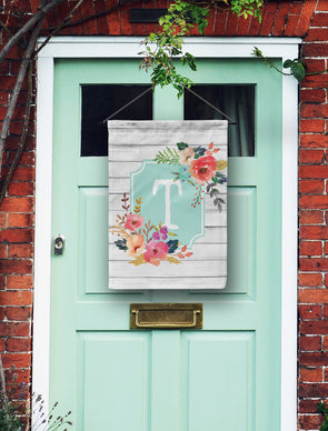Watercolor Floral Monogram Door Flag
