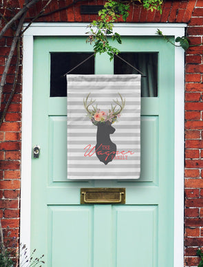 Rugby Stripe Deer Head Monogram Door Flag