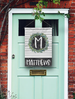 Laurel Wreath Monogram Door Flag