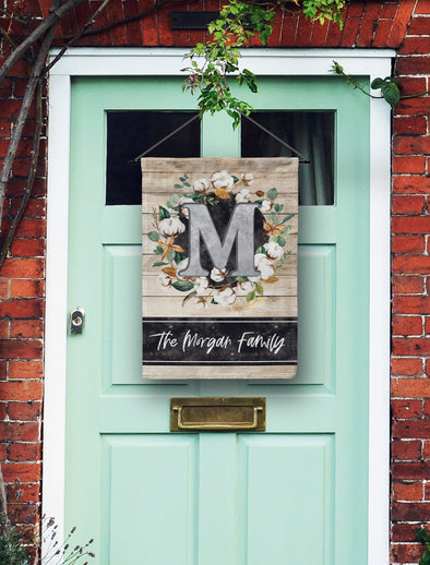 Cotton Wreath Monogram Door Flag