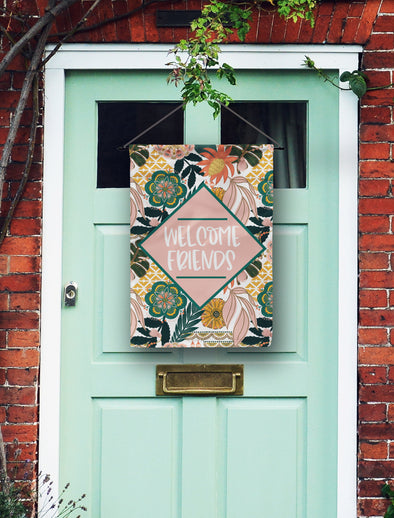 Bohemian Floral Monogram Door Flag