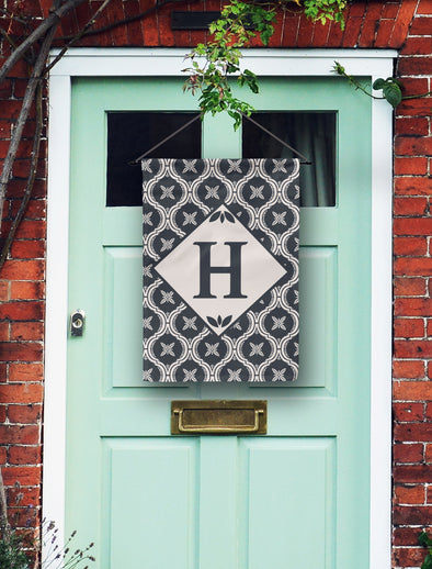 Modern Tile Monogram Door Flag