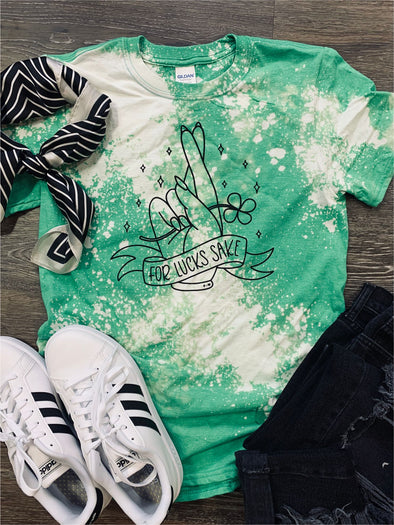 For Lucks Sake Bleach Distressed St. Patty's Tee