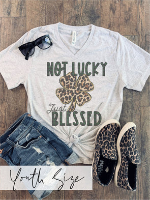 YOUTH Not Lucky Just Blessed St. Patty's Tee