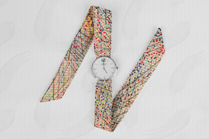 Abstract Pattern Classical Woman's Analog Scarf Watch