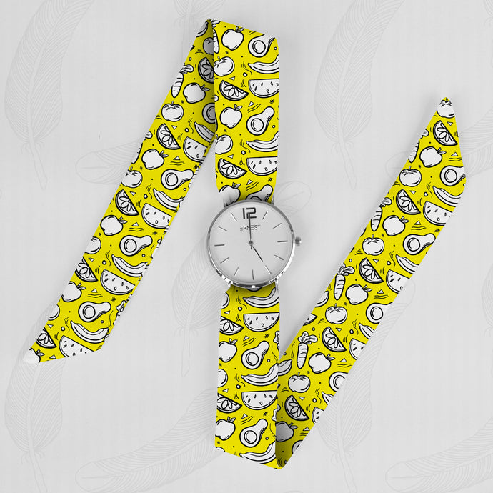 Yellow Fruit Classical Woman's Analog Scarf Watch