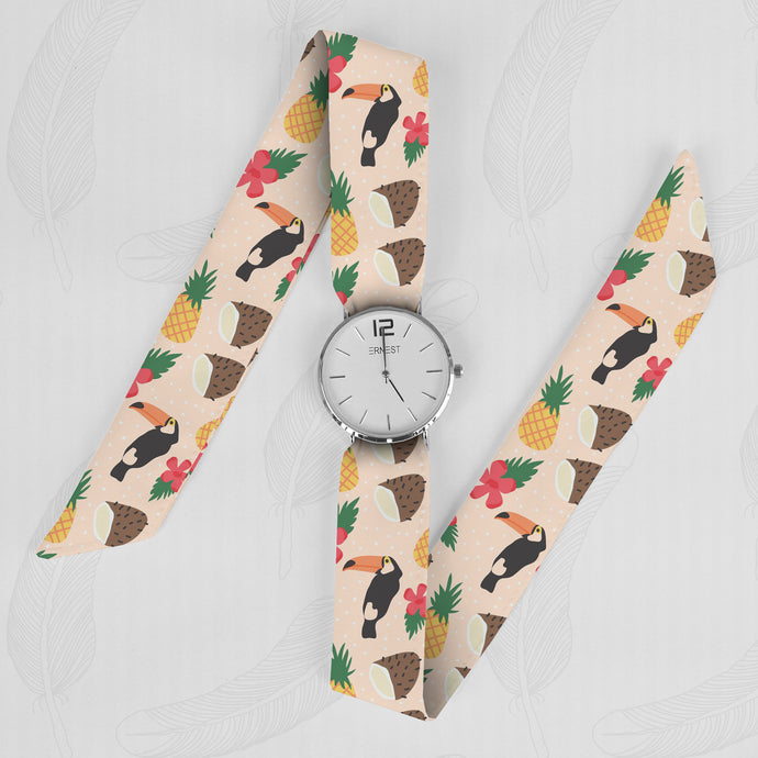 Toucans Classical Woman's Analog Scarf Watch