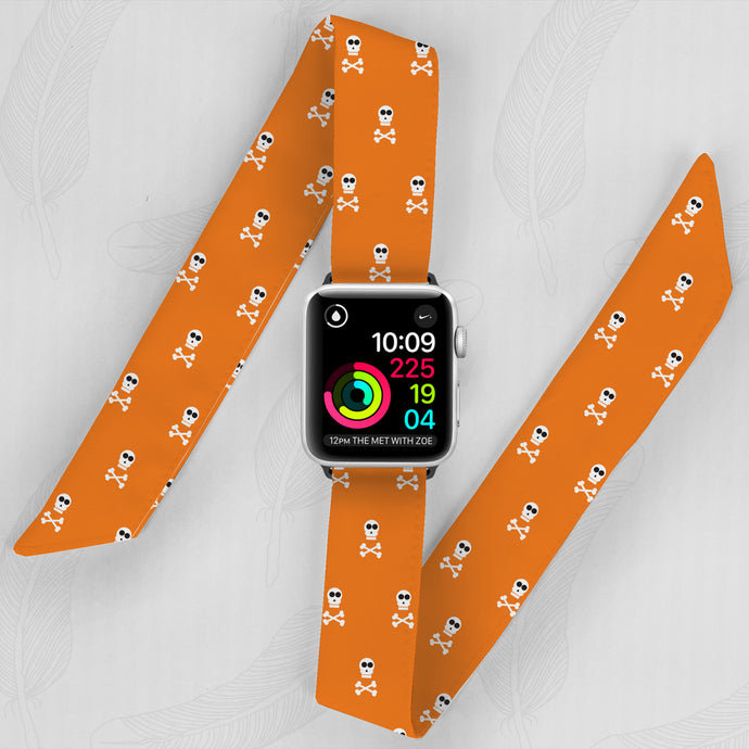 Halloween Hand Made Apple Watch Scarf Band With Skulls