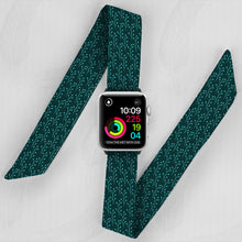 Load image into Gallery viewer, Dark Blue Floral Hand Made Apple Watch Scarf Band